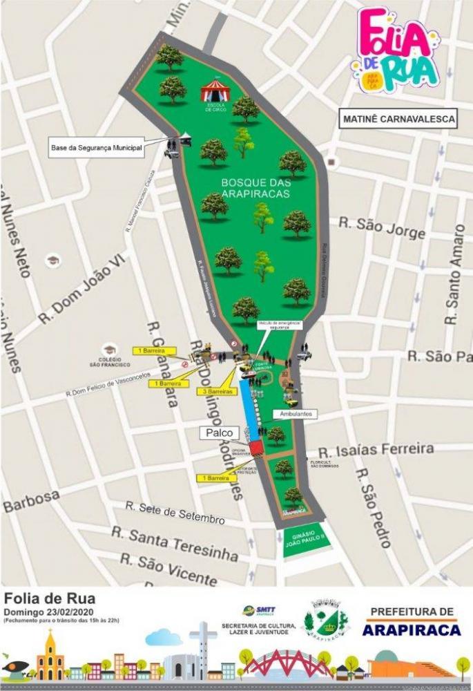 SMTT muda transito em trecho do Bosque das Arapiracas domingo de carnaval